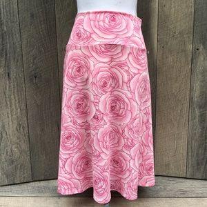 Lularoe Pink Rose Midi Skirt Sz XL